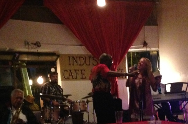 Me singing with Hollywood Charles at Industry Cafe and Jazz. www.alexisvear.com